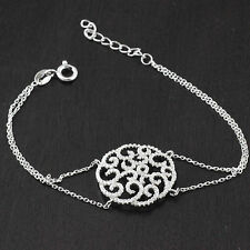 """Womens 925 Sterling Silver CZ Round Micro Pave Chain 7"""" Bracelet"""