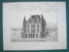 ARCHITECTURE 2 PRINTS : PARIS Suburban Villa Perspective View & Floor Plans
