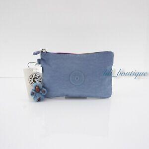 NWT Kipling AC8641 VIV Cosmetic Accessory Pouch Rainbow Zipper Nylon Blue Buzz