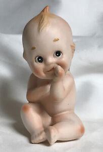 "Vintage Lefton Kewpie Cupie Bisque Porcelain Baby Sucking Thumb 4.75"" Tall"
