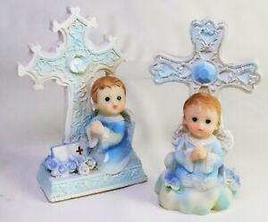 "Christian Baptism Cross Blue Keepsake Pair - Boy -4-1/2"" high exacting detail"