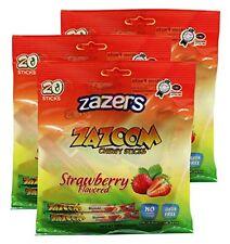 Zazers Strawberry Zazoom Sticks Taffy No Coloring Gluten Free Kosher 20pcs (3pk)
