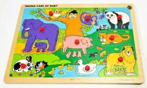 VERY RARE 2001 SMALL WORLD TOYS WOODEN PUZZLE TAKING CARE OF BABY ANIMALS 2517