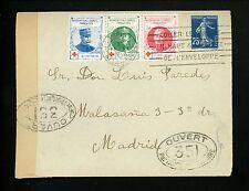 Postal Histoire France Sc#168 CROIX ROUGE ETIQUETTES CENSURE 1916 Paris à Madrid