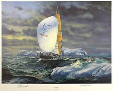 "Gordon frickers ""ice maiden"" sail tracy edwards le sgd! taille: 45cm x 56cm neuf"
