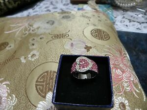 SIZE 8   RHINESTONES  RING  PINK BAND