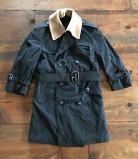 Charles Klein Children's Trench Coat-Kids-Navy Blue-Camel Collar-Size 8-Boys