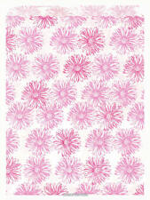 100 Pink Floral Paper Bags, Flat: 8.5 x 11 Inches - Pink Flowers on White Paper