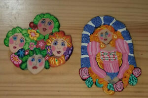 Lot of 2 Vintage Handcrafted Wearable Lady Collage Pins  Polymer Clay