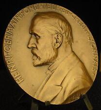 Large médaille Henri Germain Crédit Lyonnais Bank par Ch Pillet 1910 Medal 铜牌