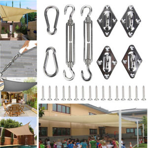 8X Stainless Steel Outdoor Garden Sun Sail Shade Canopy Fixing Fittings&Screws
