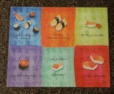 "Glass chopping board sushi designed.  15""×12"". Multicolored."