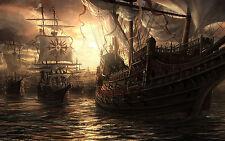 Incorniciato stampa-PIRATA navi in alto mare (foto poster arte OCEAN vela)