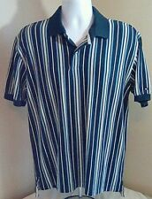 Tommy Hilfiger Polo Shirt Yellow Blue w/ White Stripes 100% Cotton Large FS!