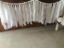 6ft WHITE WEDDING backdrop rag lace garland rustic Shabby Chic table skirt🇺🇸