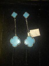 Van Cleef And Arples Style Silver Hm 925 Clover Drop Earrings