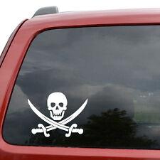 "Crossed Swords Pirate Skull Car Window Decor Vinyl Decal Sticker- 6"" Wide White"