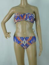 NWT Antonio Melani Bandeau Blue Print Bikini Swimsuit Size Small 2 piece ($118)