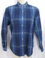 JONES NEW YORK Blue Plaid Denim Chambray Shirt, Nehru Collar Petite  P/P S