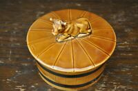 Fabulous Vintage Ceramic Brown Jersey Cow Barrel Butter Dish - 11cm Tall