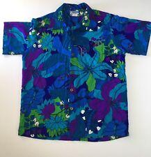 Vtg 1960's Waltah Clarke's Mens L Loop Collar Flower Cabana Hawaiian Aloha Shirt