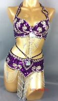 Belly Dance Costume set【Bra+Belt】Beaded Outfit Optional Skirt Sexy Samba Dress