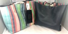 Style & Co. Womens Clean Cut Reversible Tote Handbag Large Multi/Blue w/Pouch 12