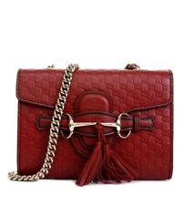 New Gucci Red Micro-guccissima Leather Mini Emily Chain Bag 449636 6420