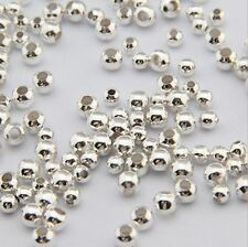 Popular 1000pcs Silver Plated Small Crimp Spacer Stopper Beads Fit Making 2mm FG