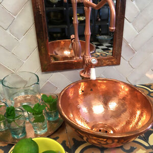 Copper Sinks Bar Round Handmade-vintage Hammered sink copper bathroom Bar sink