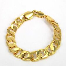 "9 "" 12mm 18K GOLD FILLED stoneless Catena Braccialetto Boyfriend's Xmas regalo di compleanno"