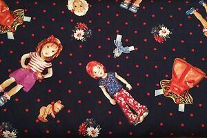 0.5 metre Spot the Children - Navy 100% Cotton Fabric 142cm wide