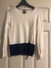 TOMMY HILFIGER Womens Sweater Size S,Colorblock Blue Cream Cotton Cashmer Jumper