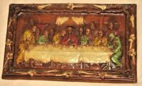 "1960s Heavy Resin The LAST SUPPER Wall Hanging Art Plaque Italy 14"" x 8.5"" JESUS"
