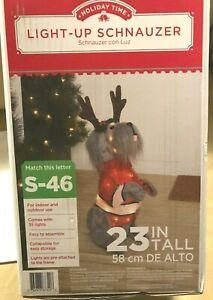 CHRISTMAS Light-Up Schnauzer Dog 23-inch Fluffy Plush Pre-Lit Pup RARE