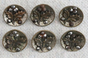 6 Antique Victorian Matching Cut Steel Holly Leaf Berry Metal Picture Buttons