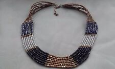 Vintage 7 Strand Gold-Silver-Grey-Black Classic Beaded Necklace Approx 45cm