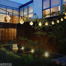 20ft 30 LED Warm White Crystal Ball Globe Lights Solar Outdoor String Light