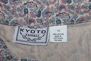 NWT  Kyoto Kasuals   Paisley  Shorts   w belt    Juniors   size 13