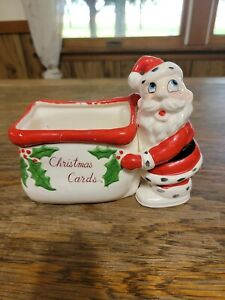 Vintage Kreiss Santa Claus Christmas Card Holder 1940s 40's Antique Ceramic 50s