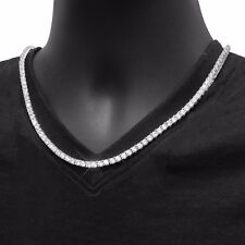 "Men's Fashion Bling CZ Iced Out 3 mm Round Stone 18"" Tennis Chain Necklace"