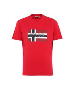 Napapijri Mens Sawy Crew Neck Short Sleeve Cotton T-Shirt in Red
