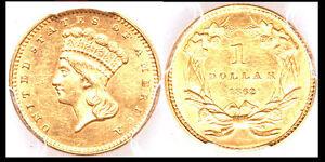 1862 G$1 MS61 PCGS-ONLY 1577 IN HIGHER GRADE- CIVIL WAR ERA
