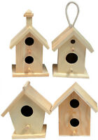 Creative Hobbies® Mini 4 Inch Tall Birdhouse, Set of 4 Styles, Unfinished Wood