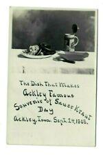 RPPC 1908 ACKLEY IOWA SAUERKRAUT BEER STEIN Photo Postcard Wilson Kesley vintage