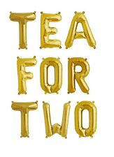 """TEA FOR TWO Gold Letter Balloons - 16"""" Gold Letters - Two Year Old Birthday - US"""