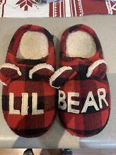 """Dearfoams """"lil Bear� Christmas Slippers Kids Size 13/1 Buffalo Plaid"""