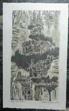 Original MEL SILVERMAN colored woodcut 'CITADEL'  SIGNED limited AAA