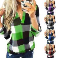 Women Spring Tops Fashion Plaid Loose T-shirt V-neck Long Sleeve Blouse