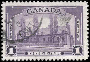 1938 Used Canada F-VF Scott #245 $1.00 Pictorial Issue Stamp
